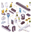 isometric set people at airport luggage vector image