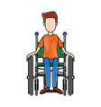 man in wheelchair care disabled patient health vector image vector image