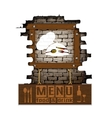menu brick wall frame wooden boards vector image