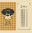menu for coffee house with cup and price list vector image vector image