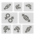 monochrome icons with symbols of gender vector image