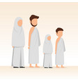 muslim family wearing ihram for hajj and umrah vector image vector image