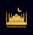 ramadan kareem mosque and crescent gold color vector image vector image