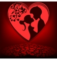 Red backgroundheart couple vector image vector image