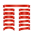 Red ribbon banners set on white 1 vector image vector image