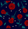 red roses seamless pattern flowers leaves vector image vector image