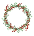 Round Christmas wreath with mistletoe branches vector image vector image