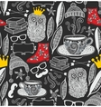 Seamless pattern with cute owl in crown vector image vector image