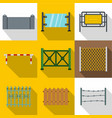 sections of fence icon set flat style vector image vector image