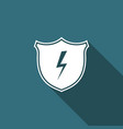 secure shield with lightning icon isolated vector image