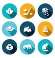 set canada icons maple leaf hockey vector image