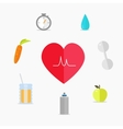 set healthy lifestyle icons vector image