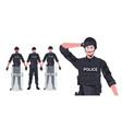set mix race policemen in full tactical gear riot vector image vector image