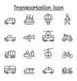 set transportation related line icons contains vector image