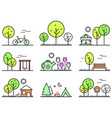 spring and summer outlines concept icons set vector image vector image