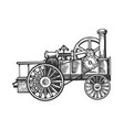steam engine tractor engraving vector image vector image