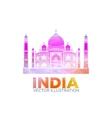 Taj Mahal symbol design red color polygonal vector image vector image