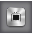 TV icon - metal app button vector image vector image