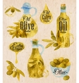 Watercolor drawn olive oil village style vector image