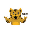 yellow cat with brown stripes saying why on a vector image vector image