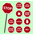 red stop road sign set as banners eps10 vector image