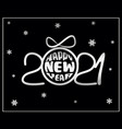 2021 happy new year background in black and white vector image
