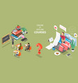 3d isometric flat concept online courses vector image vector image