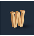 3d wood font character vector image vector image