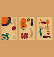 abstract cards with hand drawn elements in autumn vector image