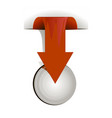 arrow red on white background over button vector image