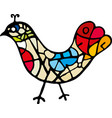 artistic bird icon with lines and warm colors vector image