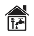 black silhouette house with faucet and wrench vector image