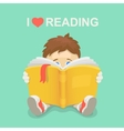 Boy with a book I love reading vector image vector image