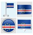 Cape Verde flag - sticker button label vector image vector image