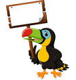 cartoon happy bird toucan vector image