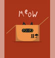 cat in box meows greeting card image vector image