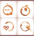 coffee paint stains splashes and harts vector image vector image