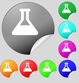 Conical Flask icon sign Set of eight multi-colored vector image vector image