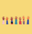diverse young people hands on isolated background vector image vector image