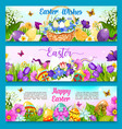 easter egg with flower greeting banner template vector image vector image