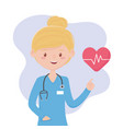 female physyician with stethoscope medical staff vector image