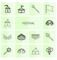 festival icons vector image vector image