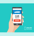 hand holding smartphone with book button and car vector image vector image