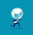 holding globe concept people and earth vector image vector image