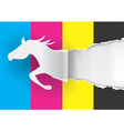 Horse silhouette ripping paper with print colors vector image vector image
