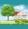 house on a hill and tree vector image