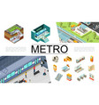 isometric metro elements collection vector image vector image