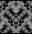 lace black and white floral seamless pattern vector image