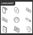 languages outline isometric icons vector image