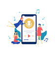 listening to music - flat design style colorful vector image